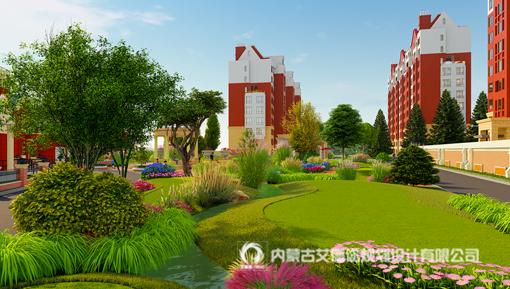 呼和浩特别墅地产景观设计_中城国际城